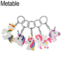 METABLE 500PCS Rainbow Unicorn Keychain Silicone Emoticon Kids Birthday christmas Party Favor Prize gift