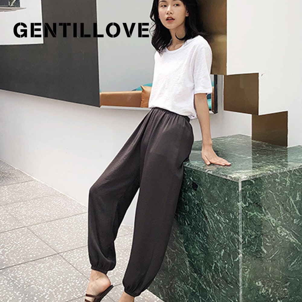 Gentillove Casual Solid Harem   Pants   Women Summer Loose Bloom   Pants   Cotton and Linen   Wide     Leg     Pants   Joggers Femme Trousers