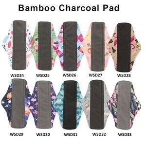 Image 3 - OhBabyKa النساء قابلة لإعادة الاستخدام منصات الطمث الصحية قابل للغسل الخيزران الفحم القماش منصات الكرتون طباعة ماما منصات حجم S M L