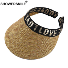 SHOWERSMILE Women Visor Sun Hat Outdoors Female Gold Letter Deco UV Protection Korean Fashion Casual Ladies Beach
