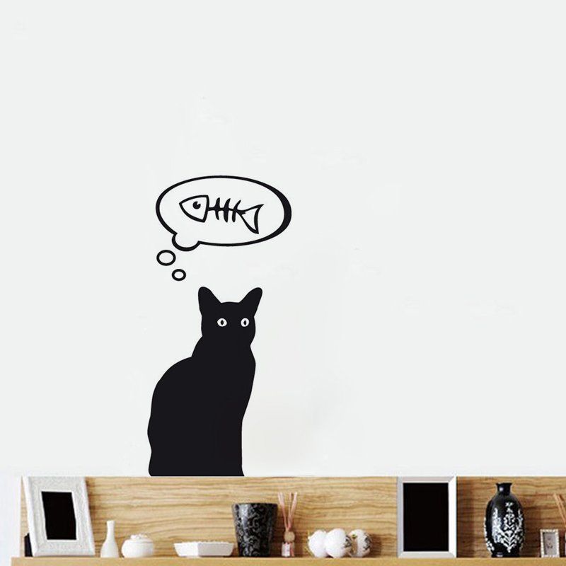 Greedy cat fridge stickers restaurant kitchen removable vinyl wall stickers diy home decor waterproof wallpaper jg1541 in wall stickers from home garden