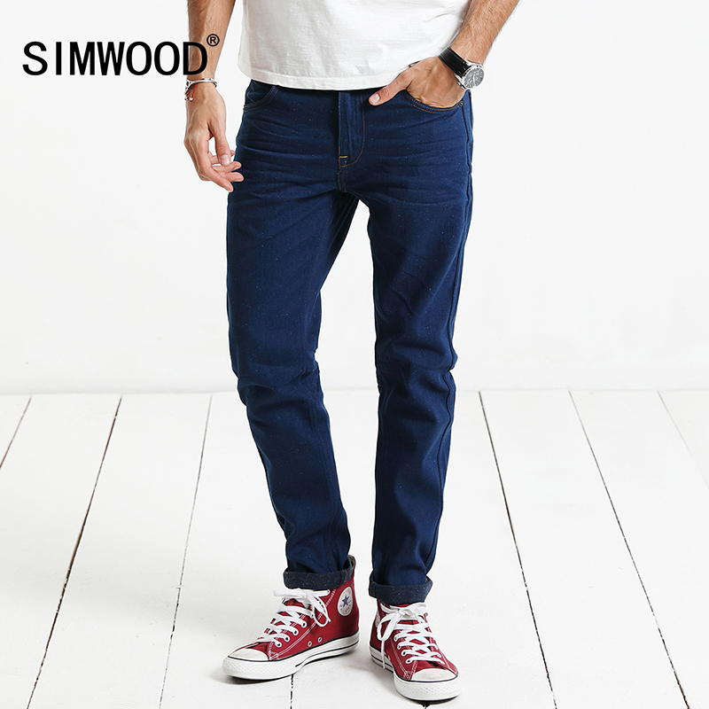 SIMWOOD 2019 New Spring   Jeans   Men 100% Pure Cotton White Dot Crafts Denim Pants Fashion Brand Clothing Plus Size SJ6077