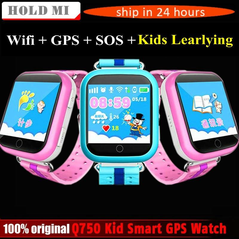 imágenes para GPS Reloj Inteligente Q750 Q100 Bebé GPS Reloj Inteligente Con pantalla de 1.54 pulgadas Pantalla táctil SOS Tracker Dispositivo de Localización de Llamadas de Seguros para Niños PK Q80