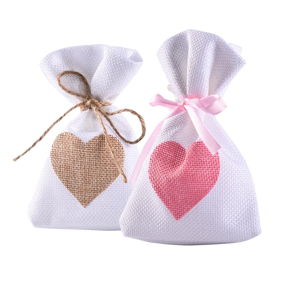 12Pcs/Set Fashion White Linen Drawstring Wedding Favor Bags Pouch Pink Heart Shape Wedding Gift Bags Jewelry Bag 9.5*14.5cm