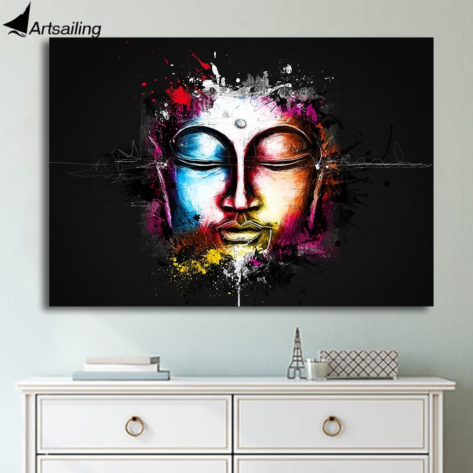 HD Gedruckt 1 Stück Leinwand Kunst Buddha Aquarell Gesicht Malerei ...