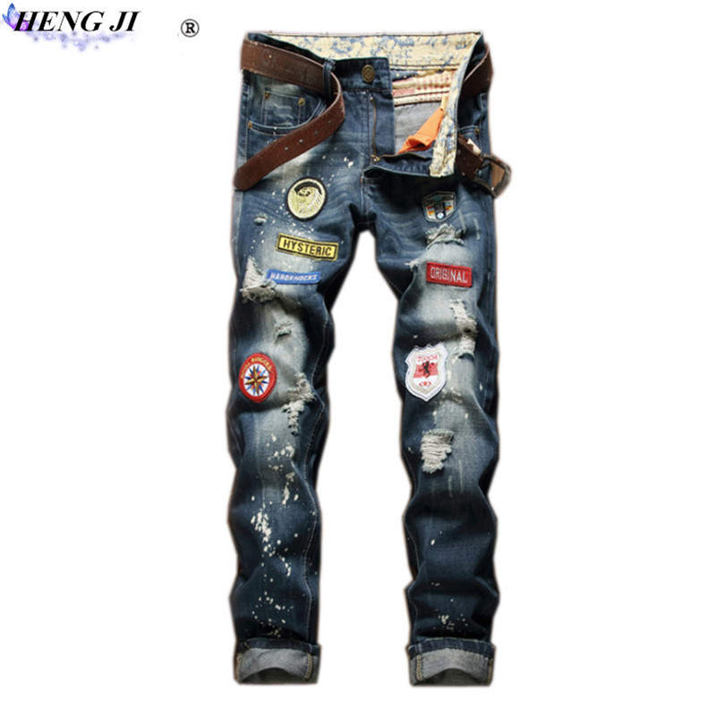 Mens badges jeans, ripped jeans, waist - length trousers, ink, old, cat beard, wear, no  ...