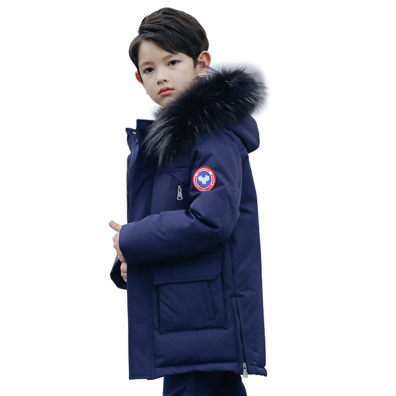 цена на Boys Casual Warm Hooded Jacket Children Thick Fur Collar Long Down Parkas Kids Winter Fashion Long Overcoat Outerwear AA51884