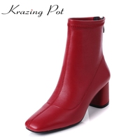 Krazing Pot 2019 genuine leather vintage square toe thick high heels solid women punk handsome superstar stretch ankle boots L13