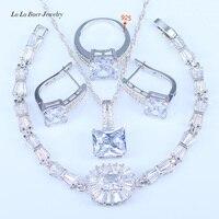 L & B Melhor Presente De Casamento de Qualidade Superior Quadrado Branco Áustria Cristal 925 Prata Selo Cor Conjuntos de Jóias Para As Mulheres agradável Pulseira