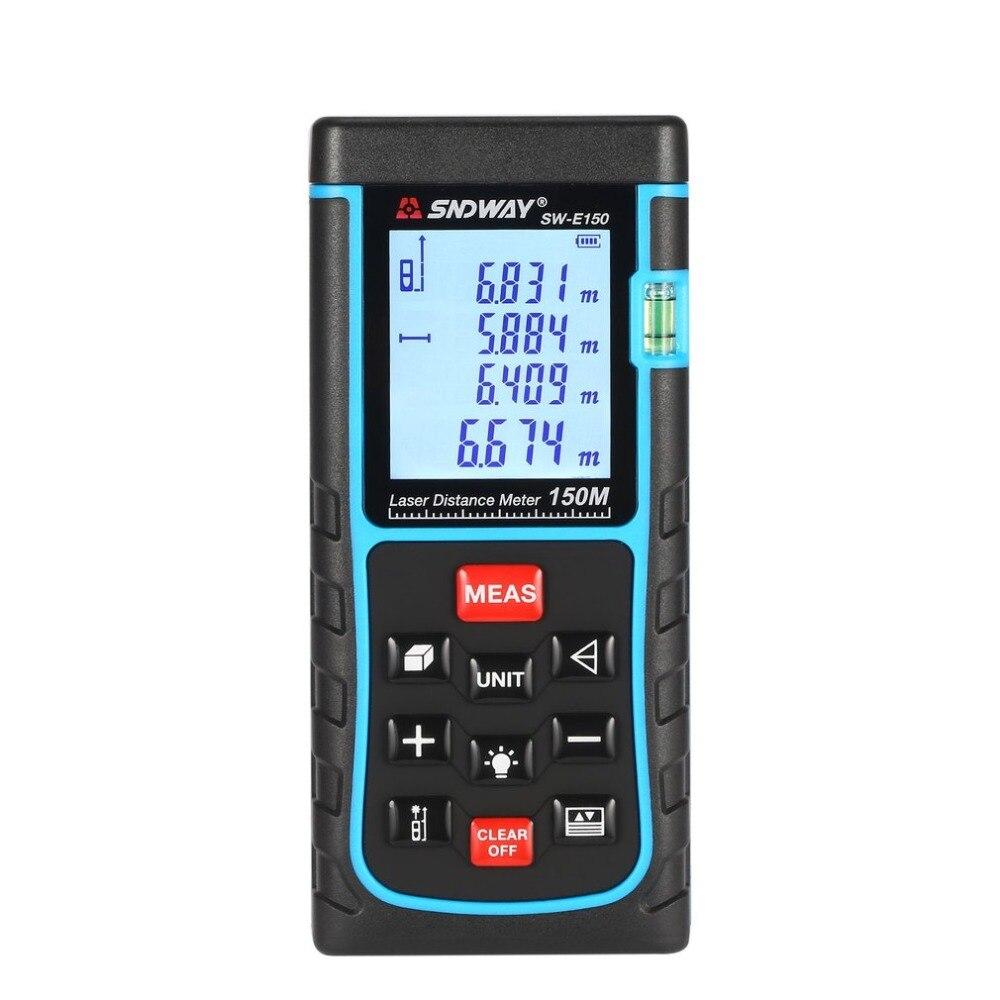 SNDWAY SW-E150 150M Handheld Laser Distance Meter Range Finder Trena Rangefinder Tape Measure Tool