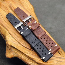 Onthelevel 18mm 20mm 22mm Waterproof Sweatproof Watch Strap Porous Breathable Leather Band With Stainless Steel #D