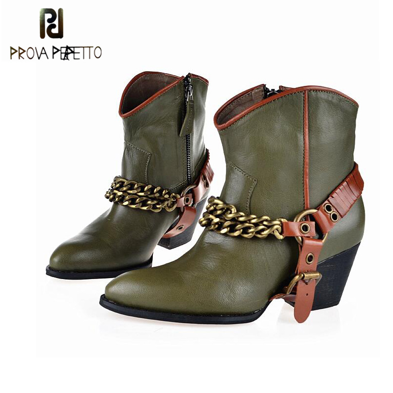 Prova Perfetto Pointed Toe Chunky High Heel Short Boot Women Leather Buckle Metal Chain Genuine Leather Cowboy Shoes Martin Boot double barrel toddler boys s andy cowboy boot square toe