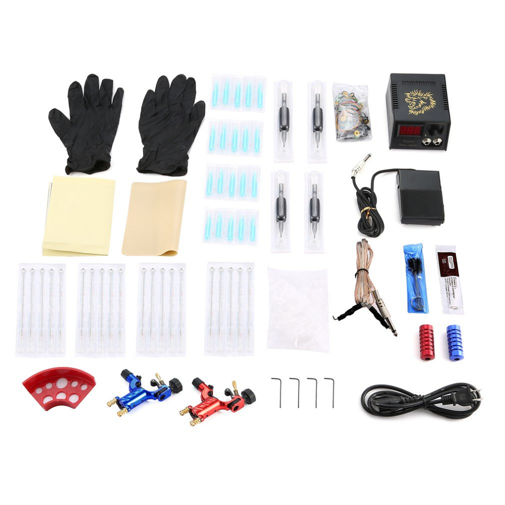 Red Blue Dragonfly Tattoo Complete Beginner Tattoo Kit 2 Pro Machine Inks Power Supply Needle Grips Tips Tatto Accessories raymarine dragonfly 4 pro page 2