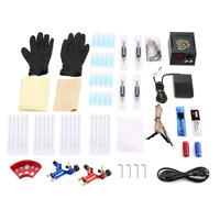 Red Blue Dragonfly Tattoo Complete Beginner Tattoo Kit 2 Pro Machine Inks Power Supply Needle Grips Tips Tatto Accessories