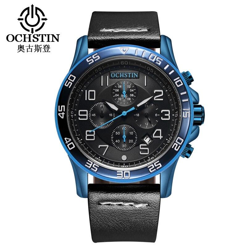 Relojes de los hombres de lujo de primeras marcas OCHSTIN Cronógrafo deportivo de moda para hombre vestido de correa de cuero reloj de cuarzo impermeable reloj de pulsera 2017