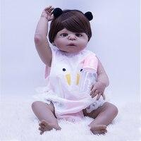 silicone simulation newborn baby girl with black skin bebe boneca reborn baby dolls 57cm new popular Girl Birthday Gifts toy NPK