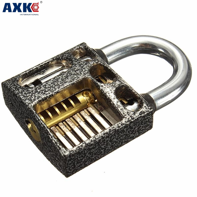 цена на Axk Transparent Practice Lock Locksmith Transparent Visible Pick Cutaway Practice Padlock Lock With Broken Key