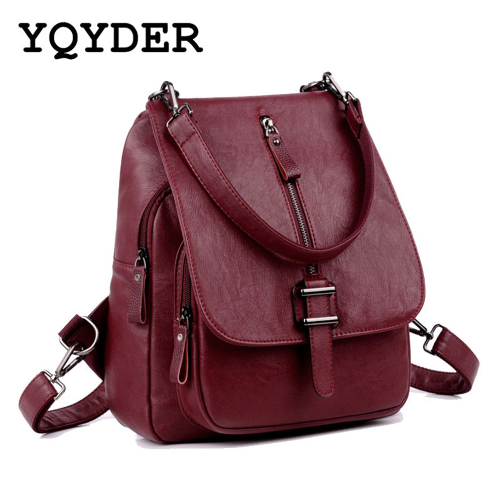 Fashion Women Multifunction Backpacks PU Leather Belts Travel School Bag for Girls Solid Shoulder Bags Feminine Bagpack Mochila