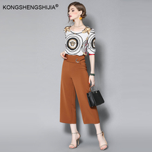 Plus Size NEW fashion women printed tops shirts blouse Ankle-length pants two piece sets 2017 O neck office ladies Spring suit
