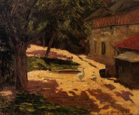 High quality Oil painting Canvas Reproductions A Henhouse (1884)by Paul Gauguin hand painted