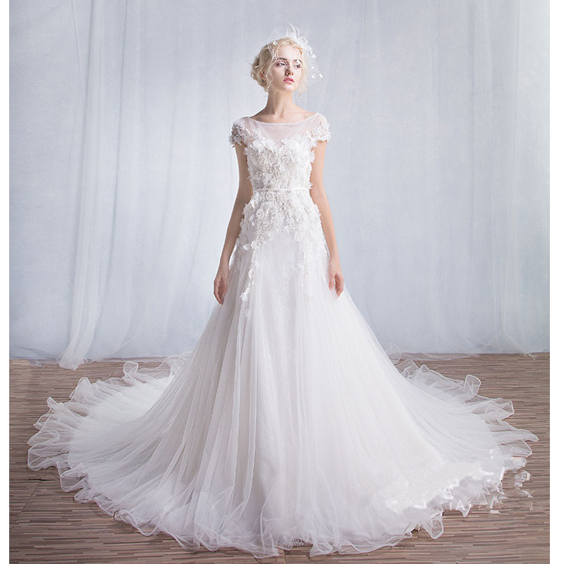 Vintage Lace Cap Sleeves Tulle Princess Wedding Dresses: 2017 Luxury Appliques Lace Mermaid Vintage Wedding Dress