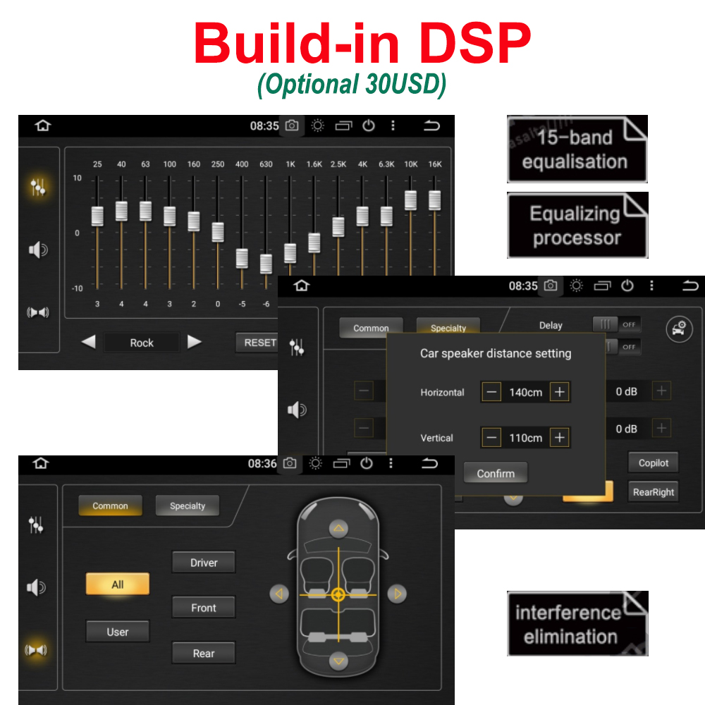 Build-in DSP Chip Only for JSTMAX Android 8.0 Car Radio Multimedia with 15 Band Equalization image