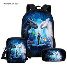 Twoheartsgirl How to Train Your Dragon Children School Bags Set Cartoon Backpack
