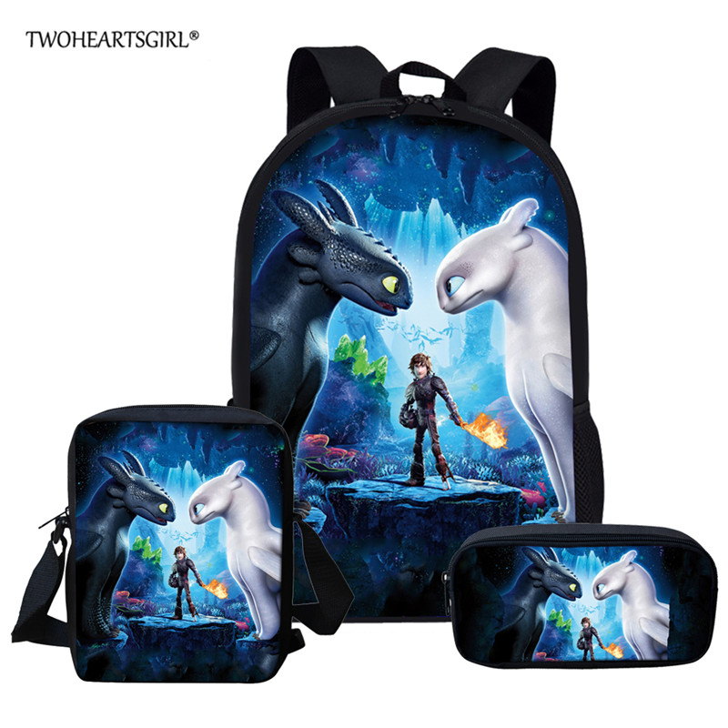 Twoheartsgirl How To Train Your Dragon Children School Bags Set Cartoon Backpack Kids School Boy Girl Book Bag Mochila Infantil