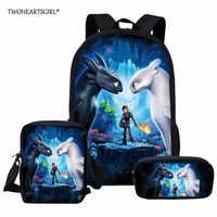 Twoheartsgirl como treinar seu dragão crianças sacos de escola conjunto dos desenhos animados mochila crianças escola menino menina livro mochila infantil