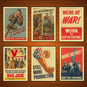 Propaganda Poster Wall-Stickers Canvas Paintings Home-Decor Work-Like Vintage Ww2-Production