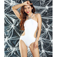 Women Sexy Backless White One Piece Monokini Swimsuit High Cut Out Beach Halter Bathing Suits Bodysuit