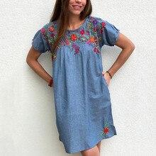 Женское однотонное свободное платье до колена с вышивкой и круглым вырезом, летние сексуальные женские вечерние платья, элегантное платье для пляжного отдыха, roupas feminina z0607