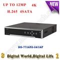 DS-7716NI-I4/16 P 12MP H.265 16CH NVR com 4 K 4 SATA RS485 CCTV câmera POE 16 de alarme de segurança NVR gravador de vídeo