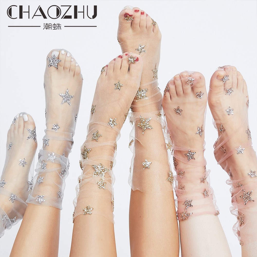 CHAOZHU Women Socks Fashion Cool Shinning Sliver Tulle Stars Thin Muslin Dots Girls Streetwear Trendy Lady Socks