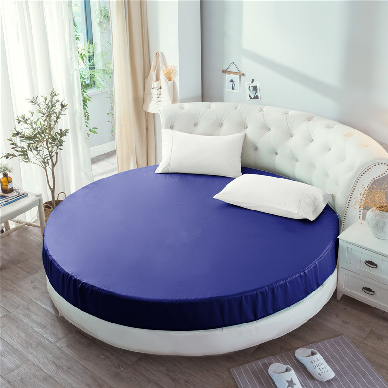 Imitated Silk Fitted Sheet Round Sheet Mattress Cover 1pc Circle Elastic Bed Cover 220*220cm Super King Size Bed Sheet White Red