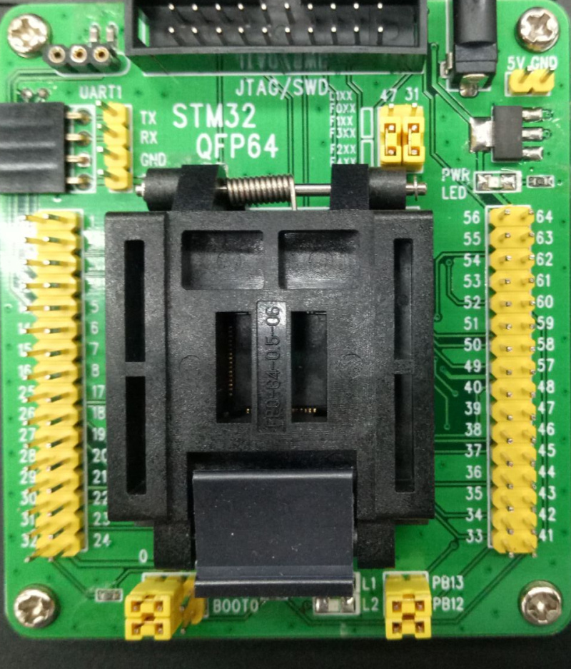free shipping STM32 Programming Adapter Test Socket for LQFP64 QFP64 QFP Package 0 5mm Pitch STM32