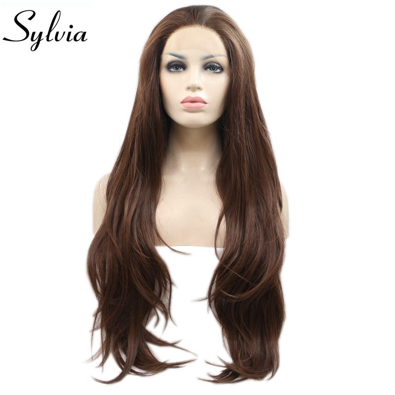 Sylvia Natural Wave Mixed Brown Color Synthetic Lace Front Wig For Women Free Part Natural Hairline Long Heat Resistant Hair Wig