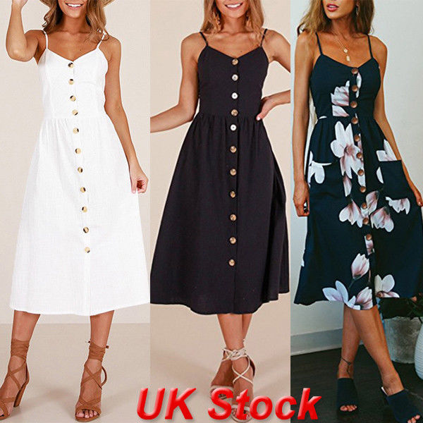 6f2cf14ca74e1 Cool Girl UK BOHO Womens Ladies Summer Beach Midi Dress Holiday Strappy  Button Sun Dresses
