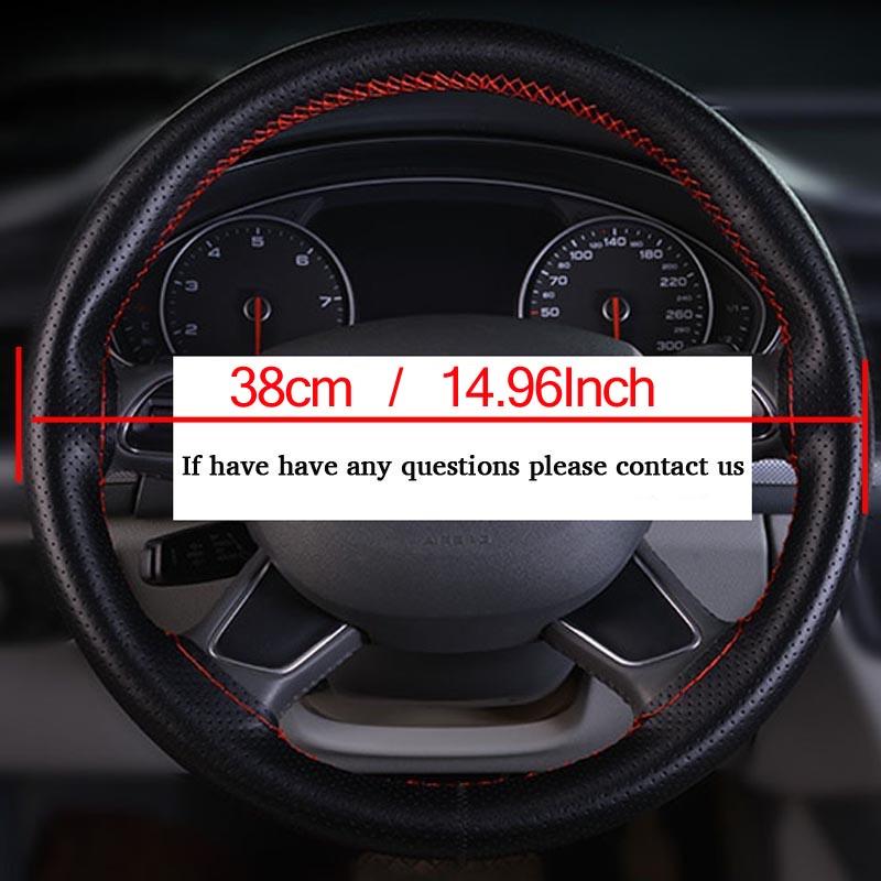 Brand-New-Car-Braid-DIY-Genuine-Leather-Cowhide-Car-Steering-Wheel-Cover-Black-38cm-Diameter-Universal