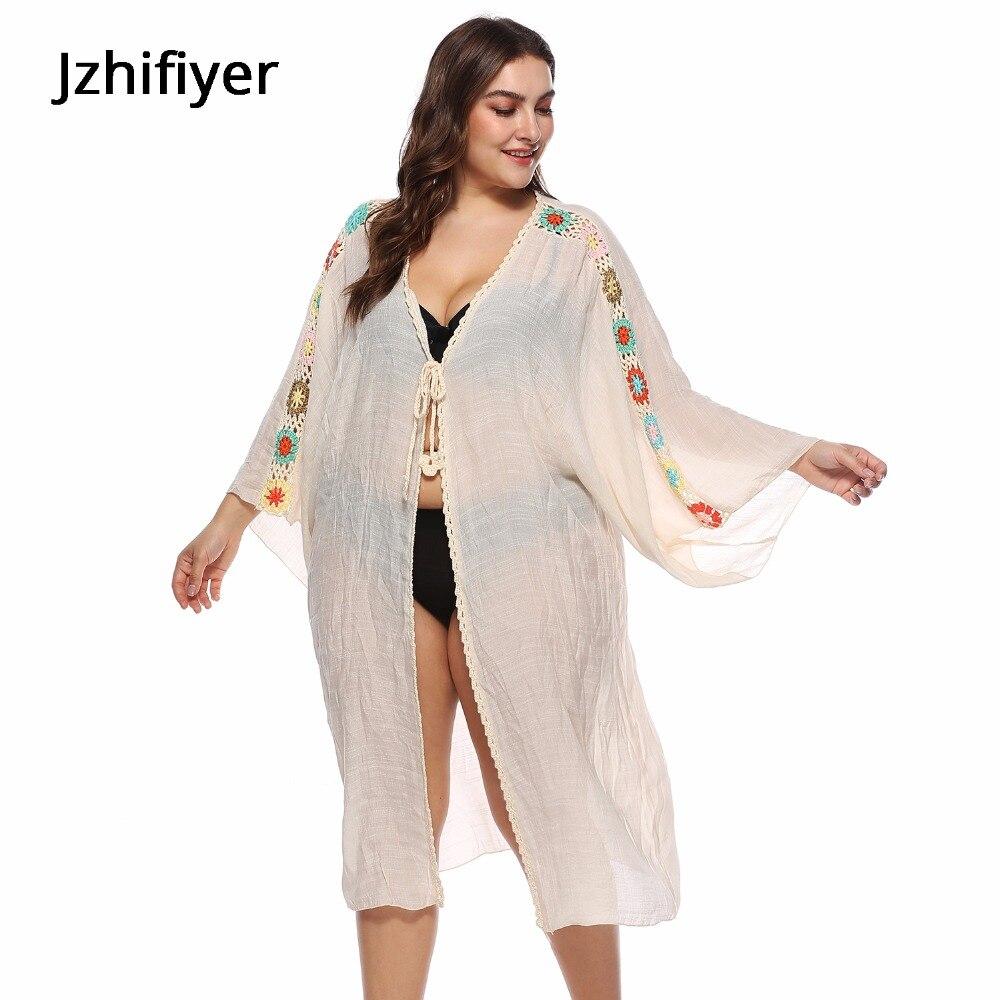 Kaftan bamboo cotton long sleeve loose maxi cardigan dress crochet hollow flower kaftan bohemian beach dresses