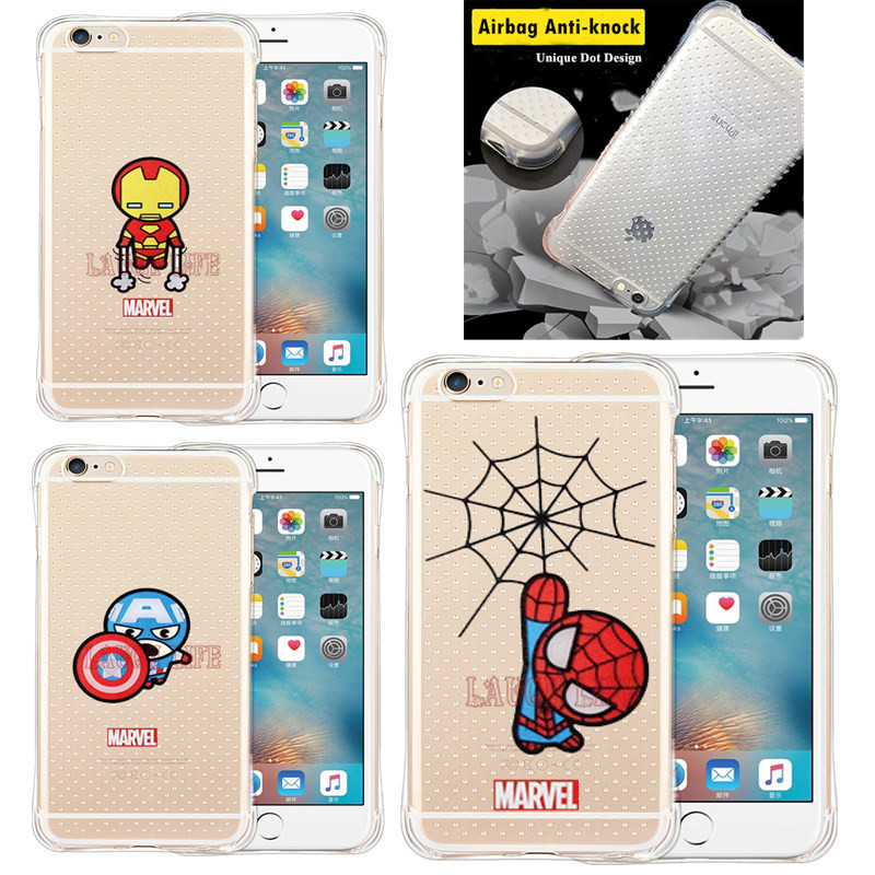 Shock Proof Marvel Heros Case for iPhone SE 5S 6 6S 6Plus Case Cover Captain America Shield Iron Man <font><b>Spider</b></font> Man Hero Back Cover