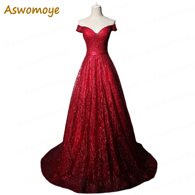 Aswomoye 2018 New Stylish A-Line Long   Evening     Dress   Sweetheart Party   Dresses   Sequins Prom   Dress   Haute Couture robe de soiree