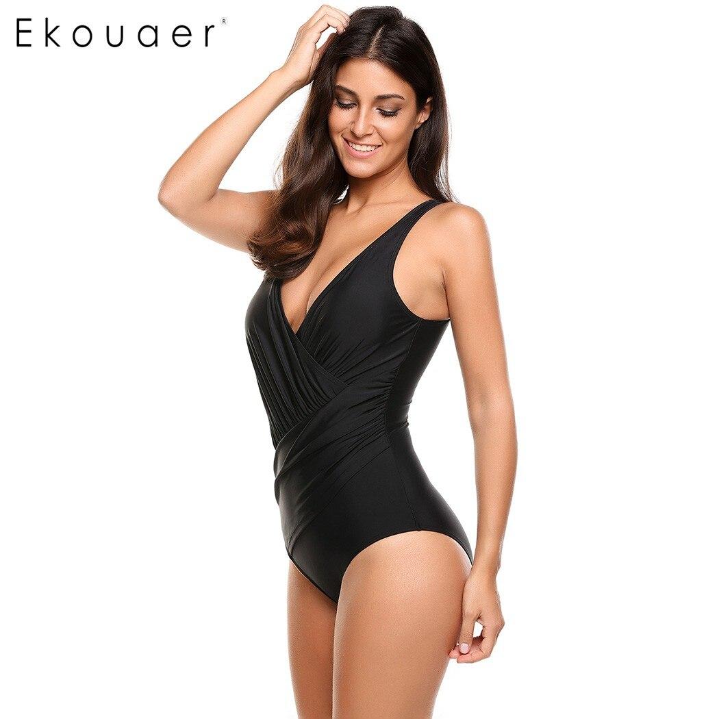 Ekouaer Sexy Women Oblique Cross One-Piece Bikini Front Pleated Solid Swimwear V Neck Slim Bathing Suit Swimsuit 3