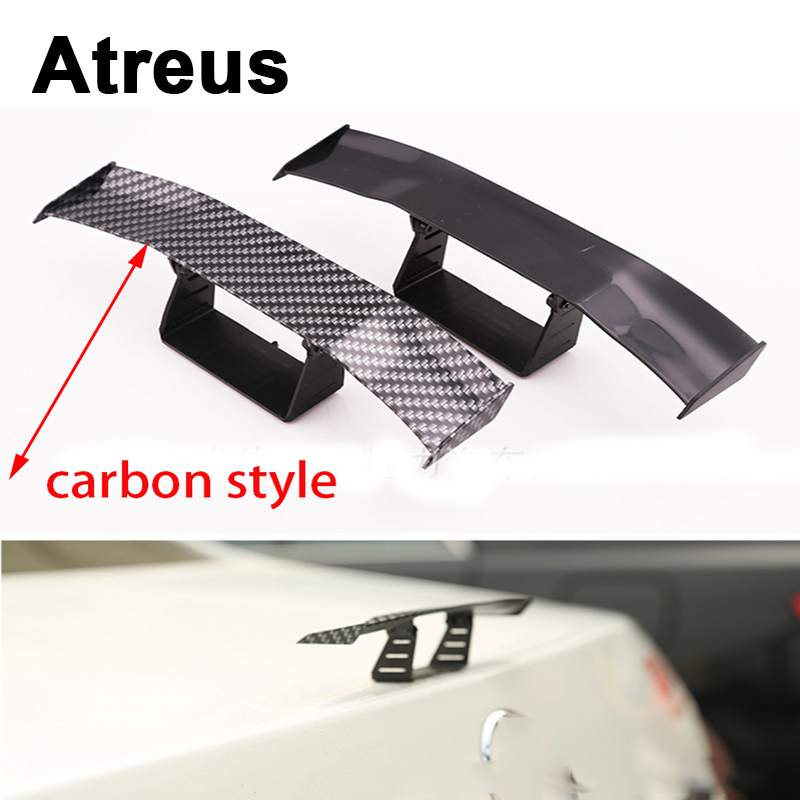 Atreus Car Mini GT Spoiler Wing Carbon Fiber Tail Stickers For Mercedes benz W204 W203 W211 AMG Mini cooper Skoda octavia a5 hot car abs chrome carbon fiber rear door wing tail spoiler frame plate trim for honda civic 10th sedan 2016 2017 2018 1pcs