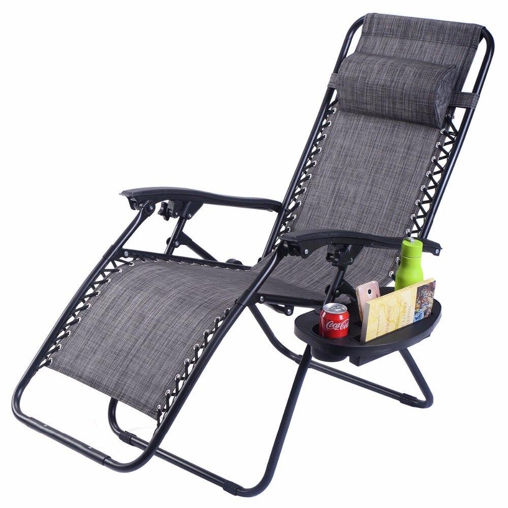Guplus Pliage Zéro Gravité Chaise En Plein Air de Pique-Nique Camping Bain de Soleil Chaise De Plage avec Utilitaire Plateau Inclinable Salon Chaises OP3026