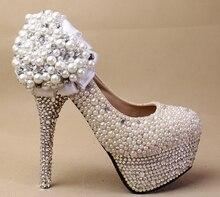 2016 Handmade Imitation Pearl Wedding Dress Shoes High-heeled Bridal Shoes Sexy Round Toe pumps Formal Shoes