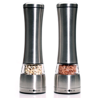 Premium Stainless Steel Salt and Pepper Grinder Set Mill Shakers With Adjustable Manual Ceramic Rotor Set Of 2 by Leeseph