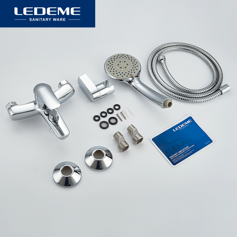 LEDEME Bathtub Faucet 1 set Chrome Plated Outlet Pipe Bathroom Shower Bathtub Faucets Surface Brass Bath Shower Faucets L3251