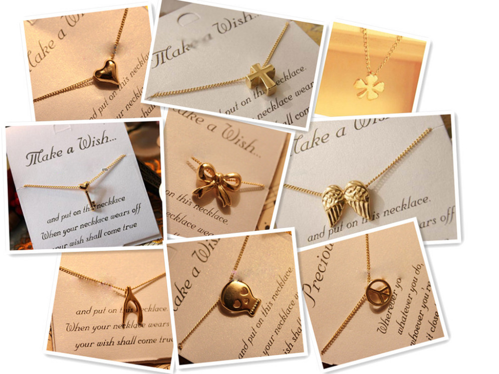 Fashion Gold Necklace Lady Girls Heart & Cross & Wings Simple ...