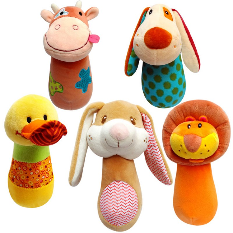 Plush Animal Hand Bells Baby Toys Baby Rattle Ring Bell Toy Newborn Infant Early Educational Doll Gifts Brinquedos New